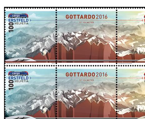 Timbres poste Gotthard 2016